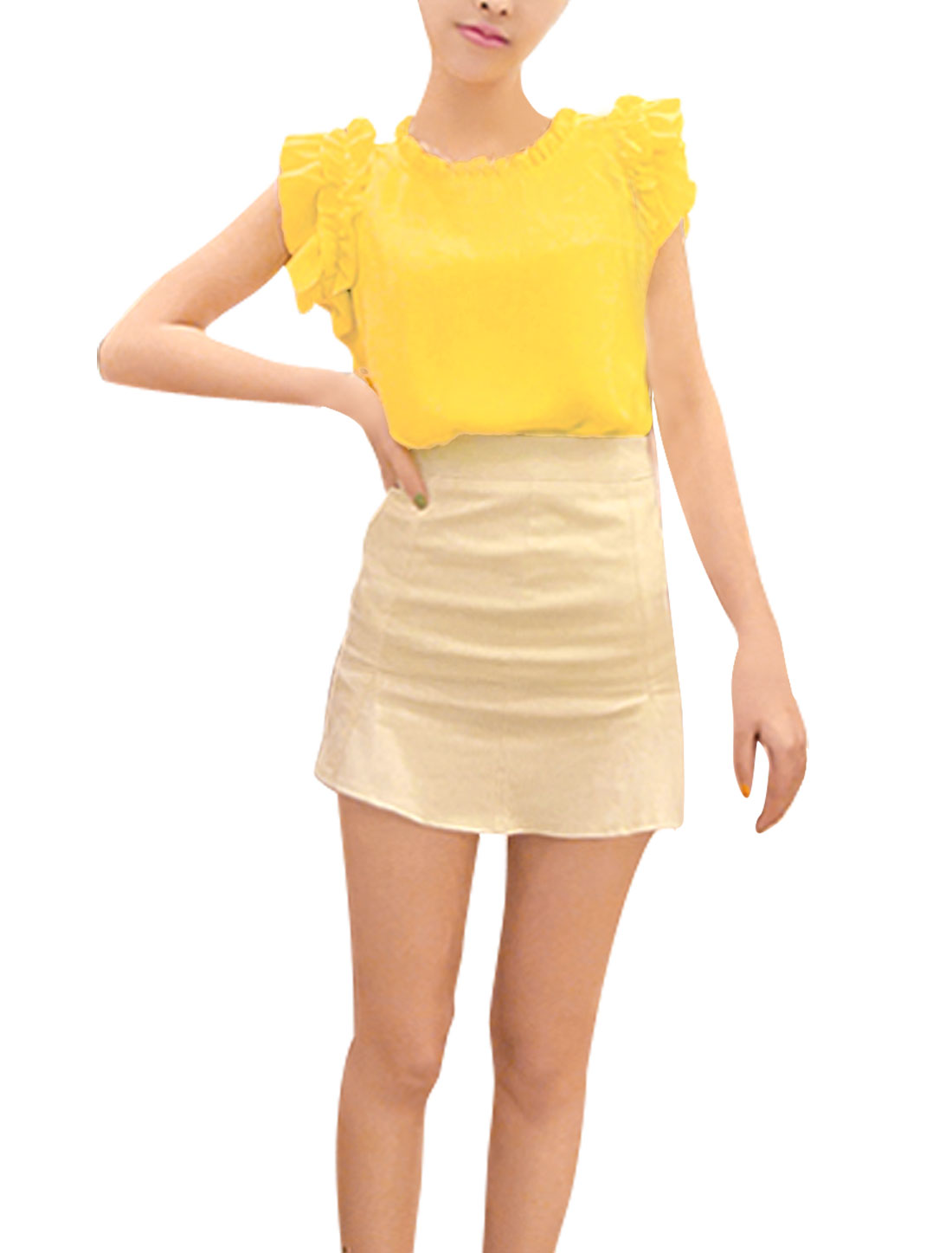 Lady Hidden Zipper Back Sleeveless Solid Color Tops Blouses Yellow S