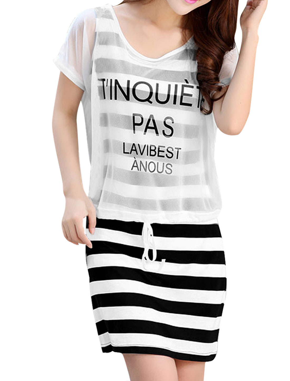 Lady White Bar Stripe Dress w Short Sleeve Letters Top XS
