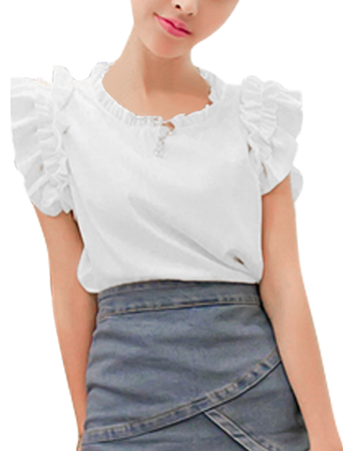 Women Chiffon Sleeveless Concealed Zippers Back Chic Shirt White S