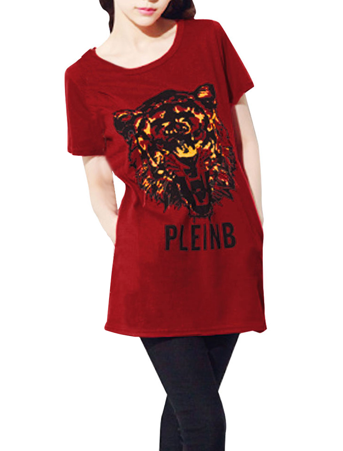 Stylish Red Round Neck Short Sleeve Tiger Pattern Tunic Shirt for Lady