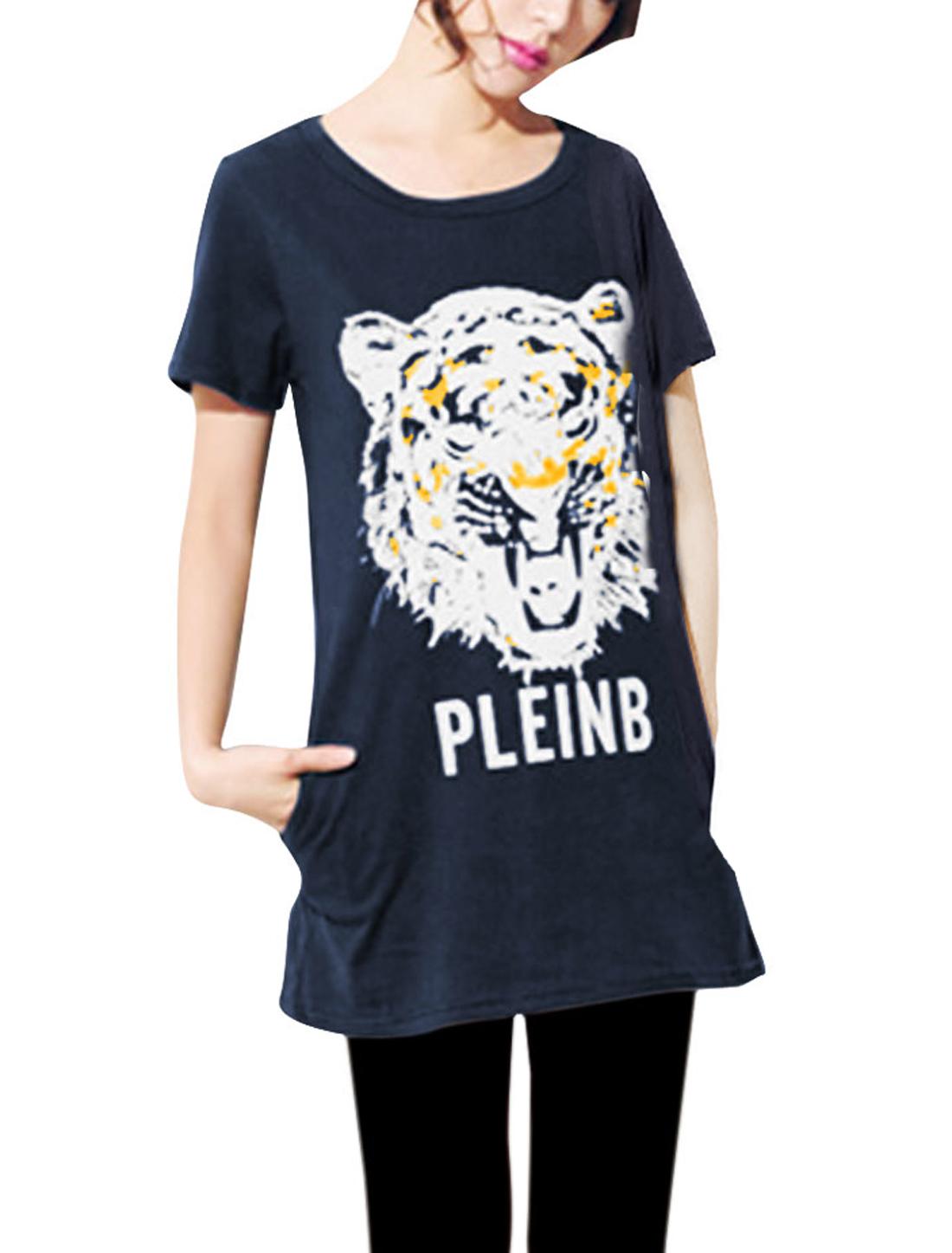 Woman Round Neck Short Sleeve Stylish Tiger Pattern Dark Blue Tunic Shirt XS