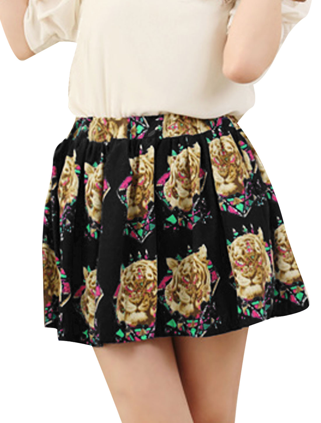 Ladies Chic Elastic Waist Tiger Head Pattern Pleated Black Mini Skirt XS