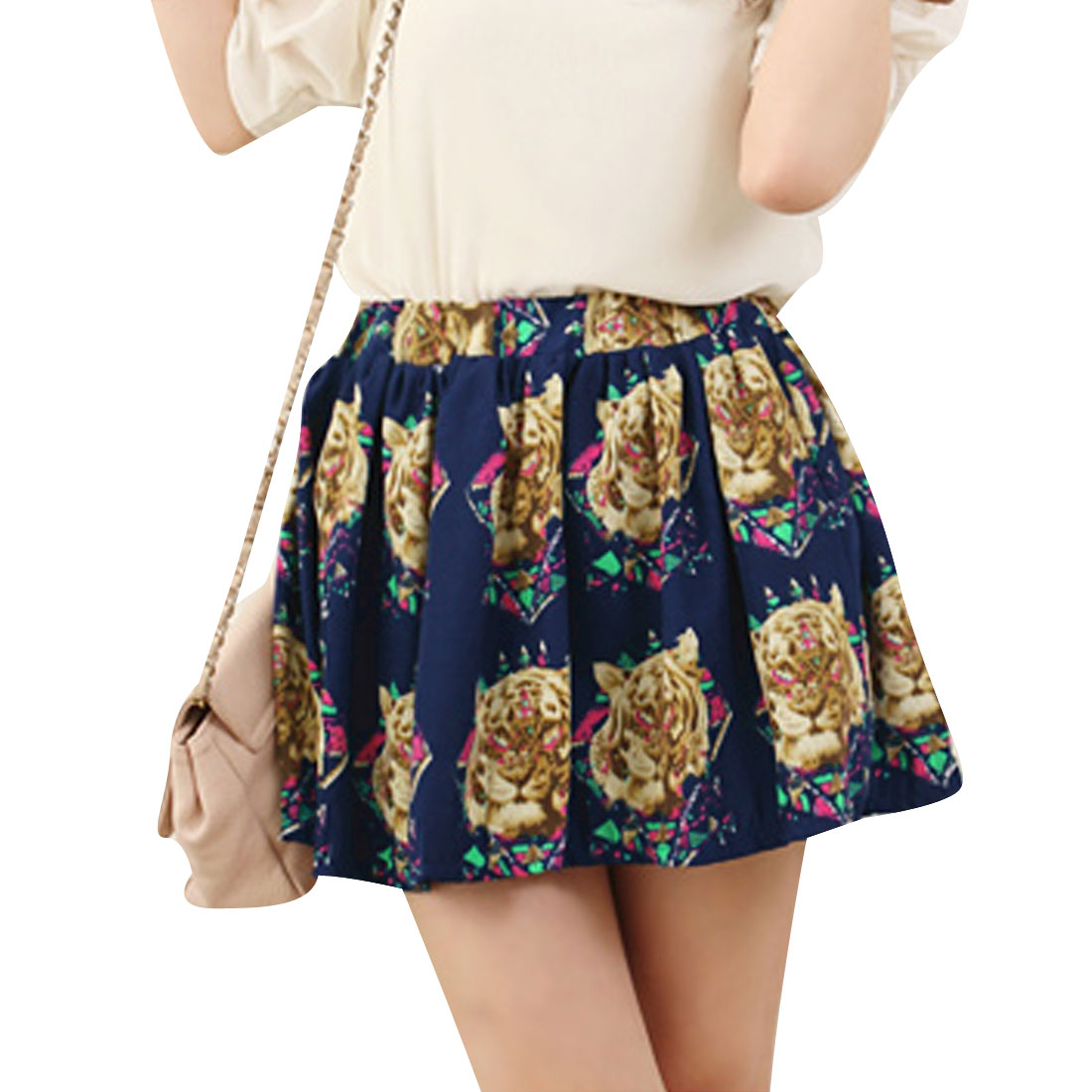 Woman Stylish Dark Blue Tiger Pattern Design Pleated Mini Skirt XS