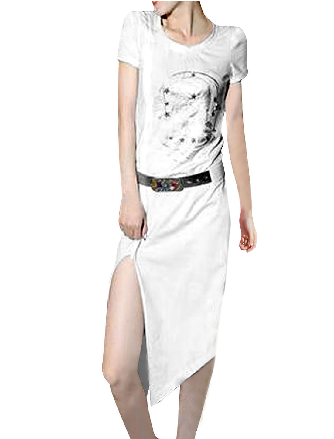 Women Round Neck Short Sleeve Foil Skull Pattern White Knee-Length Dress XS