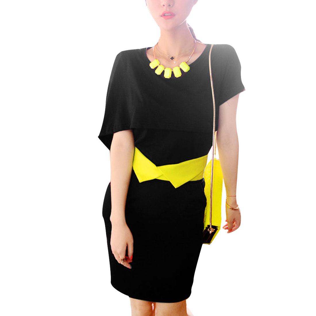 Lady Round Neck Layered Top w Split Back Skirt Sets Black XS