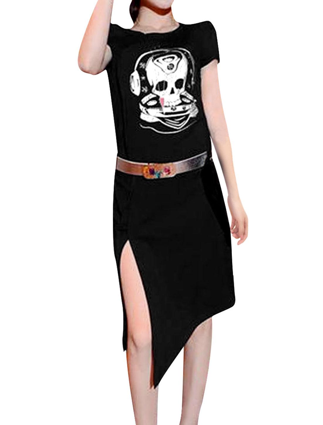 Ladies Skull Pattern Slim Fit Black Dress w Rhinestones Decor Belt XS