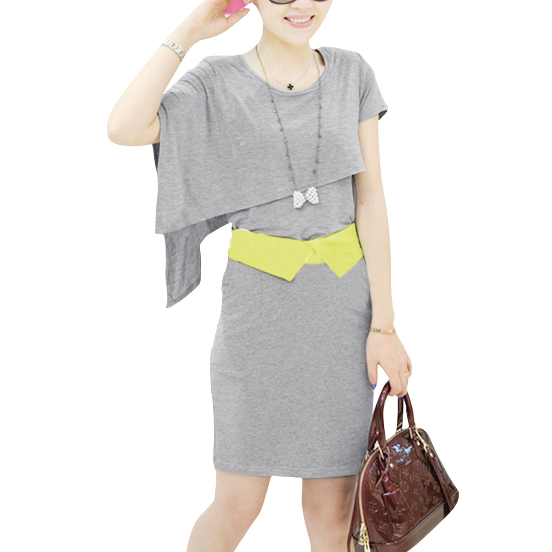 Lady Round Neck Layered Top w Split Back Skirt Sets Gray XS