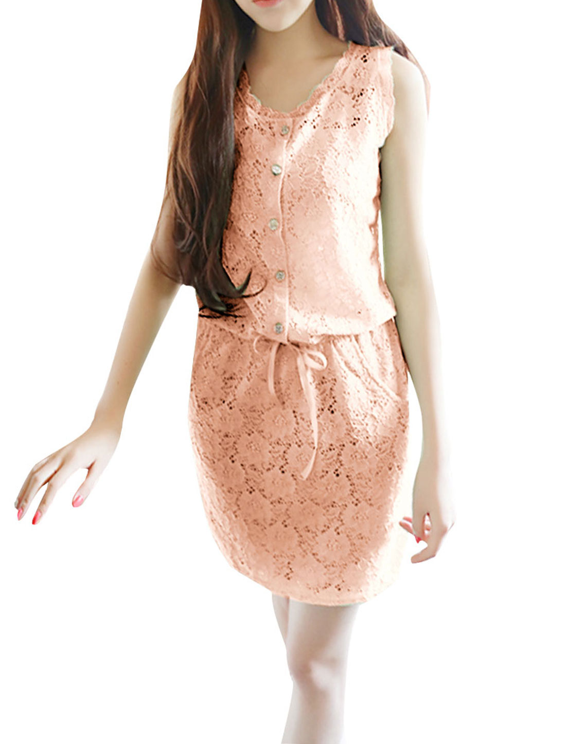 Woman Half Placket Sleeveless Crochet Drawstring Mini Dress Pink S