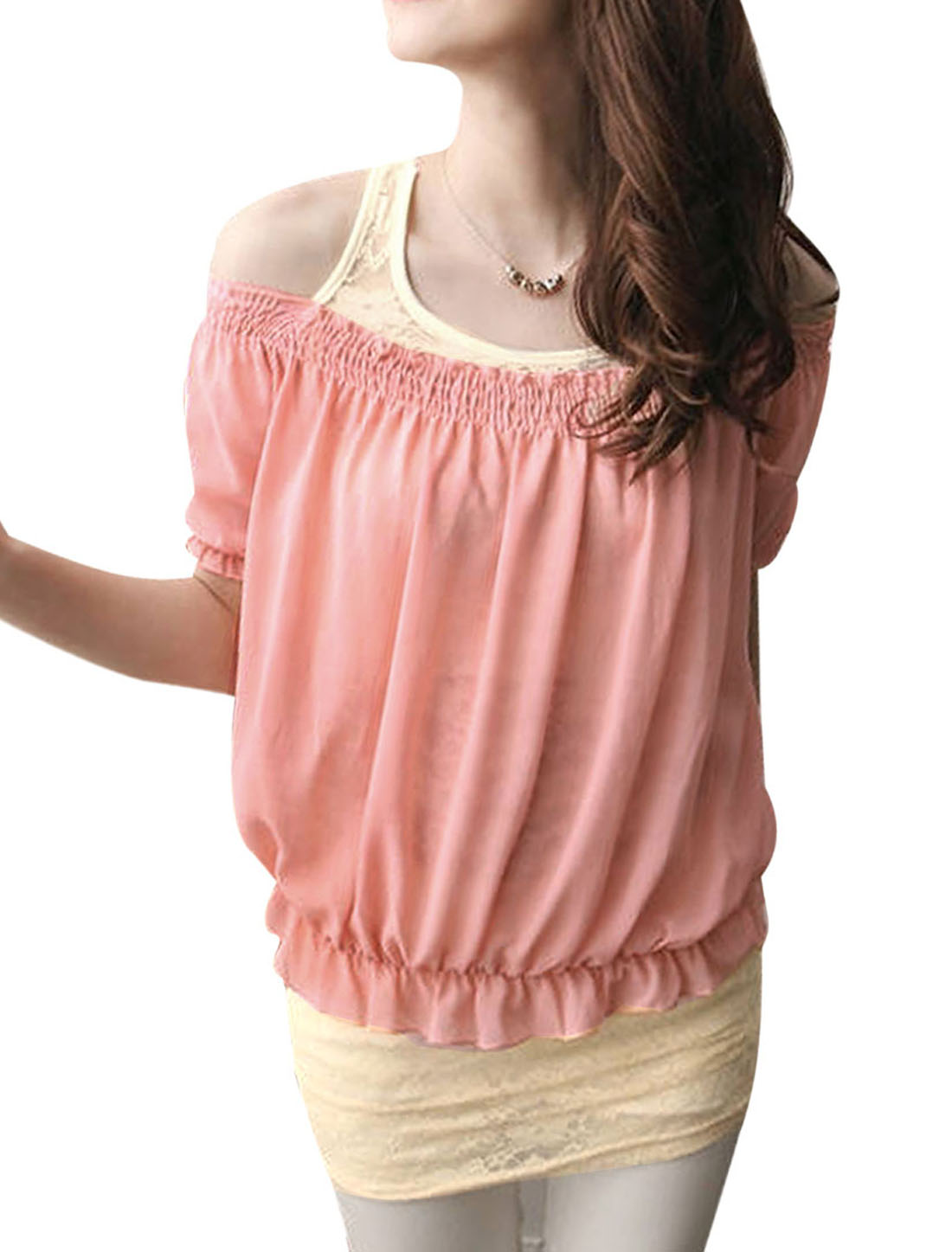 Lady Scoop Neck Semi-sheer Tank Top w Off Shoulder Loose Blouse Salmon Pink XS