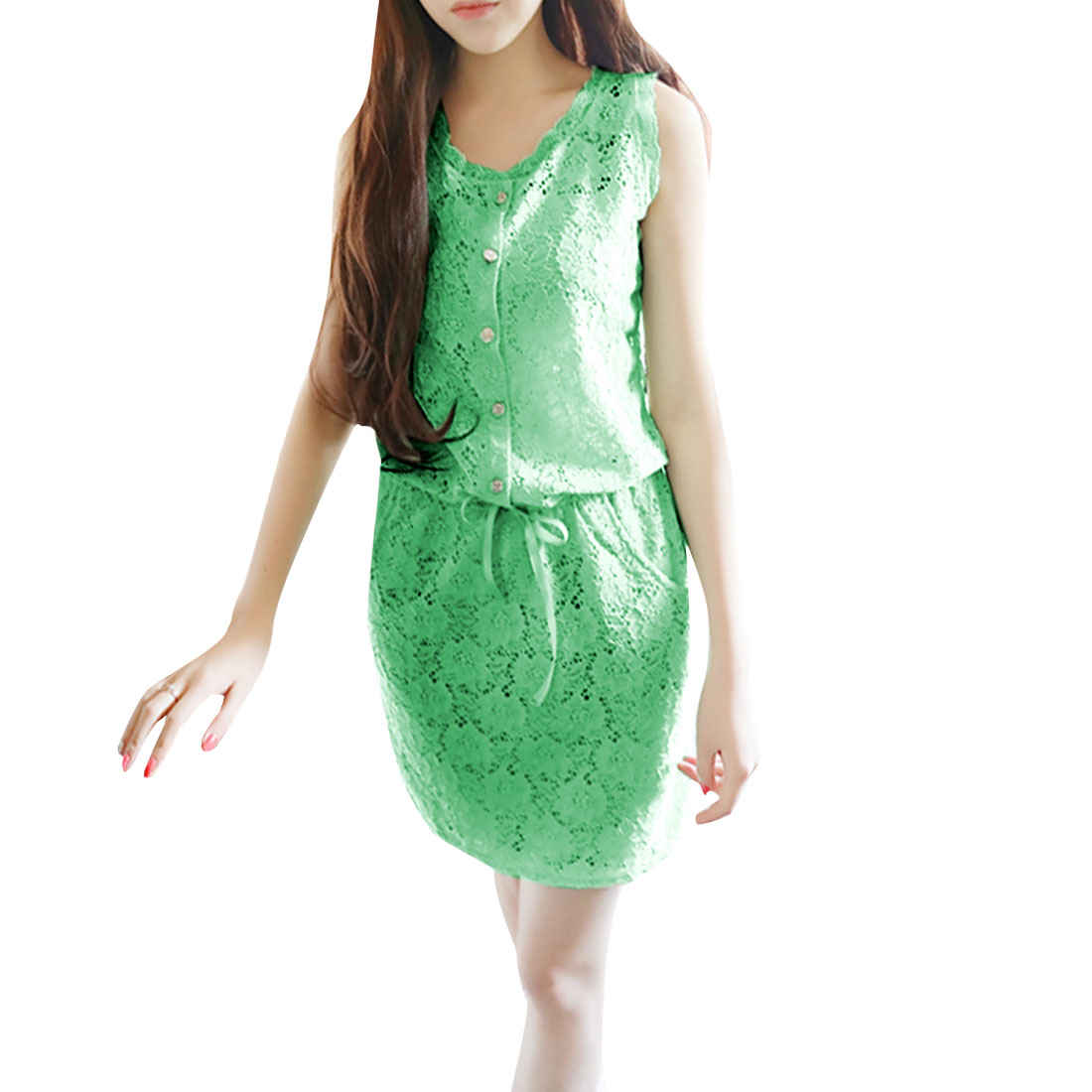 Woman Half Placket Sleeveless Crochet Drawstring Mini Dress Green S