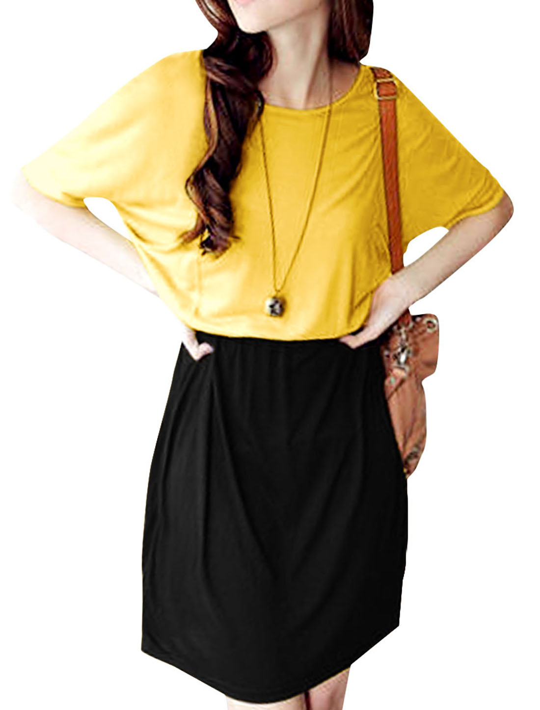 Women Panel Pockets Waist Stretchy A Line Dress Black Yellow S