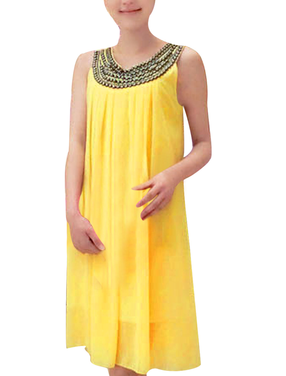 Ladies Chiffon Metal Decor Belted Pleated Fashion Tank Dress Yellow S