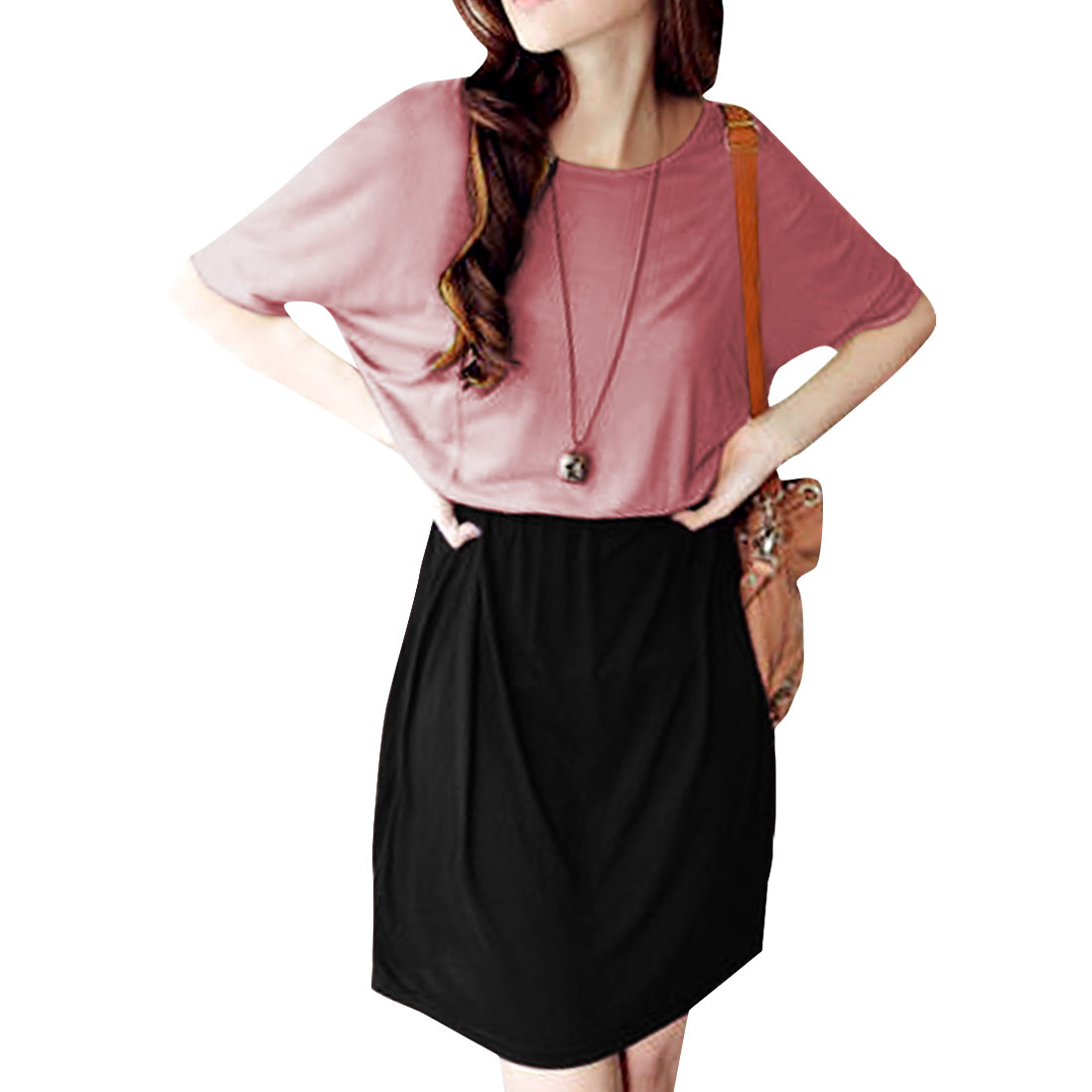 Ladies Short Sleeves Above Knee Panel Chic Dress Red-Violet Black S