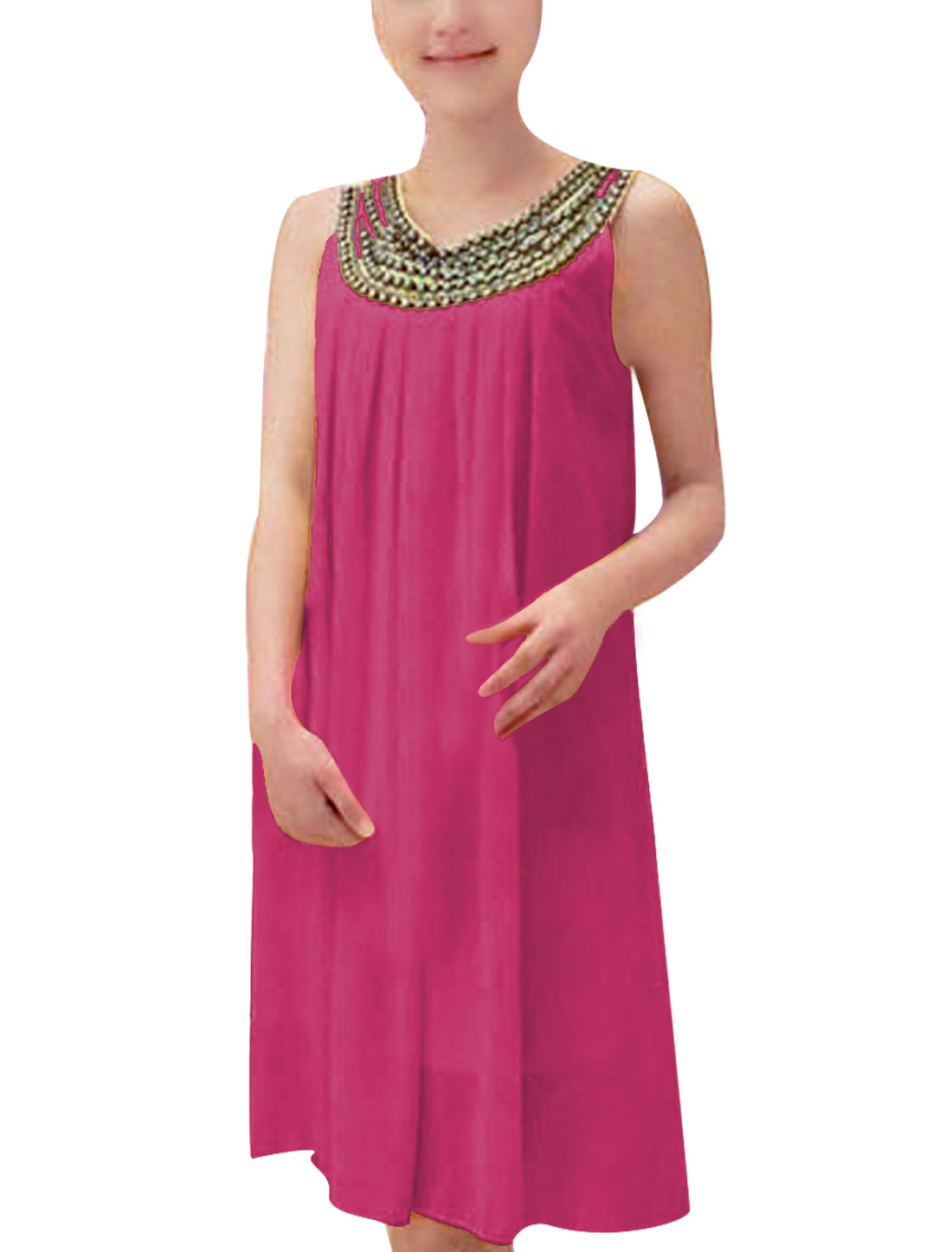 Ladies Round Neck Rivets Decor Chiffon Solid Color Dress Fuchsia S