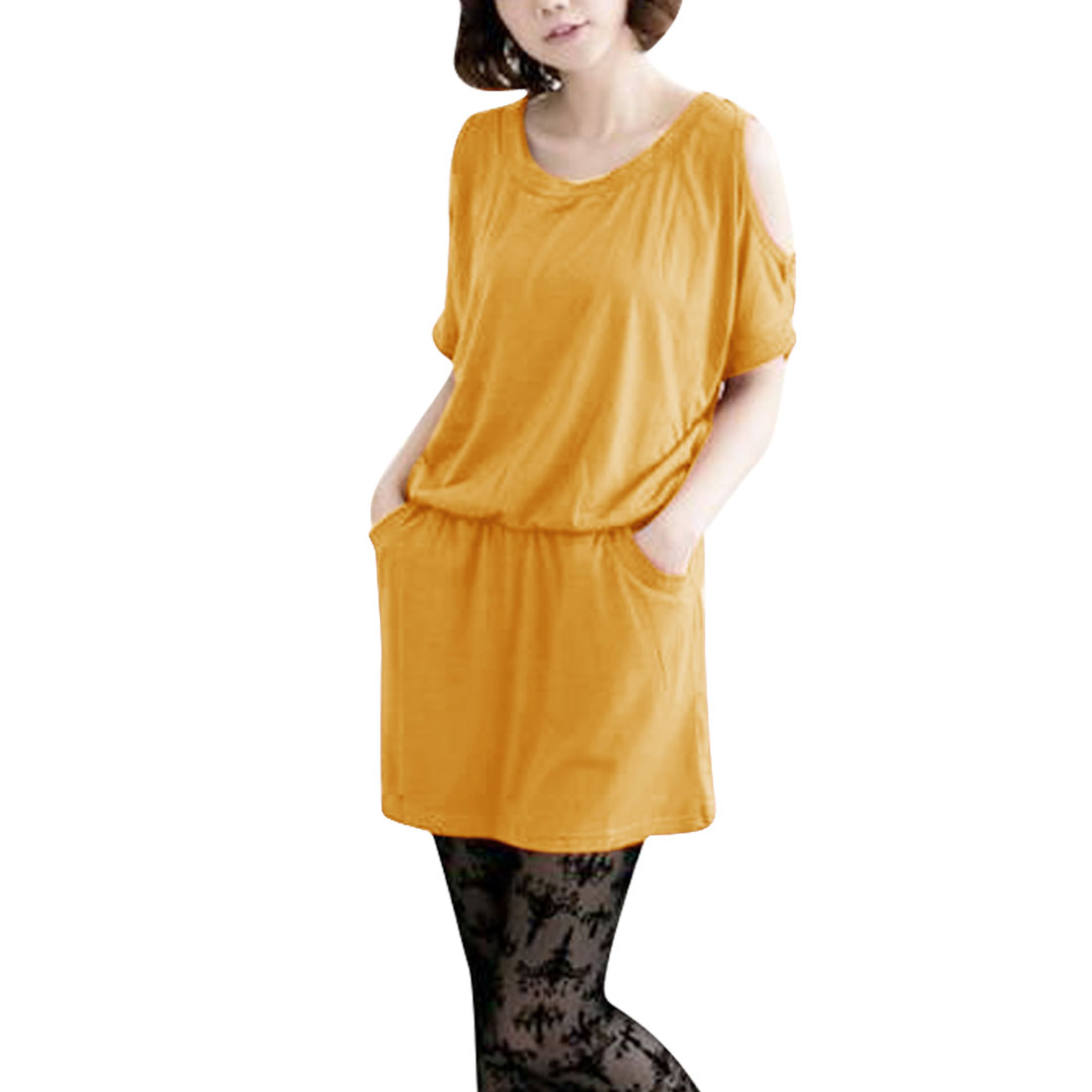 Ladies Round Neck Elastic Waist Dress Yellow S