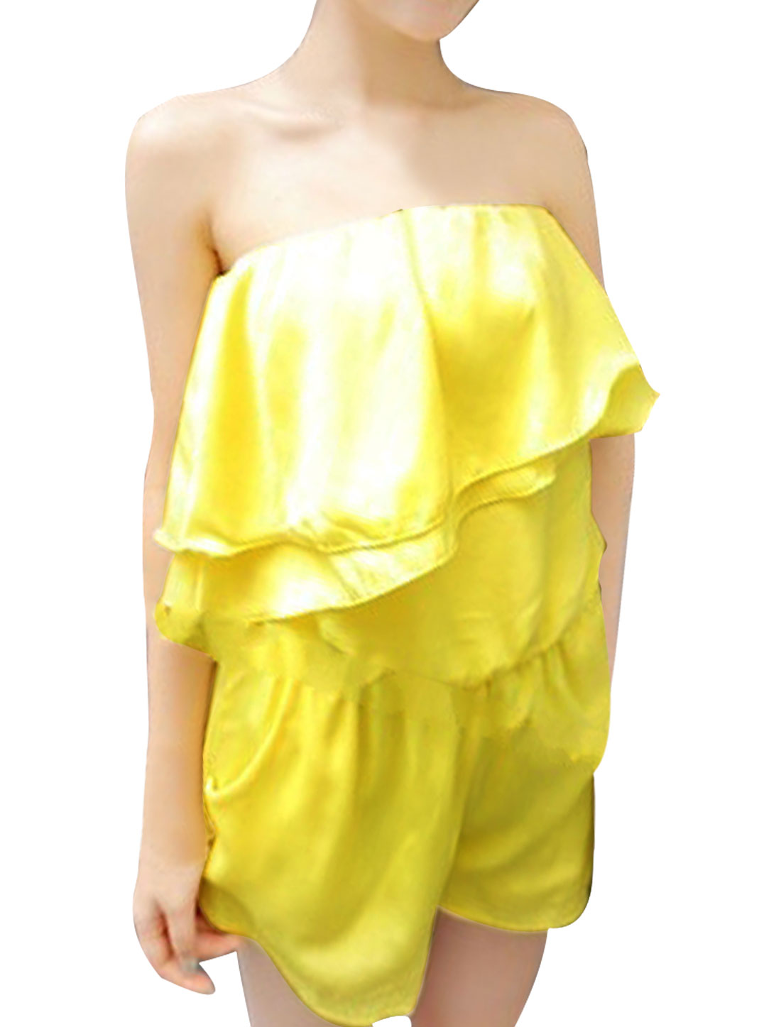 Women Off Shoulder Stretchy Waist Fashion Tube Romper Yellow XS