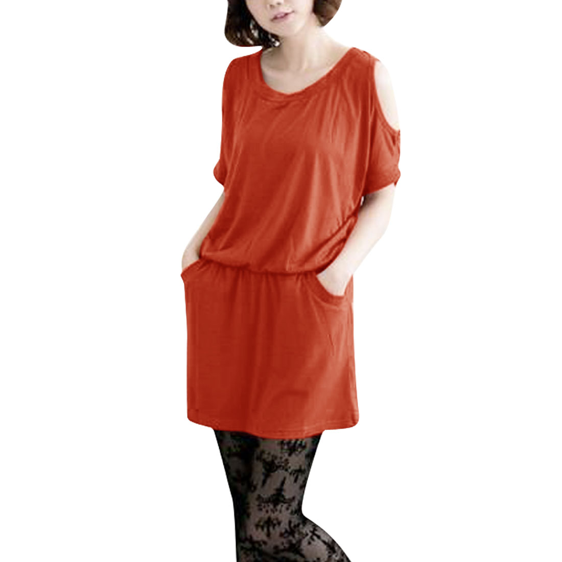 Ladies Round Neck Short Sleeve Slant Pockets Dress Orange Red S