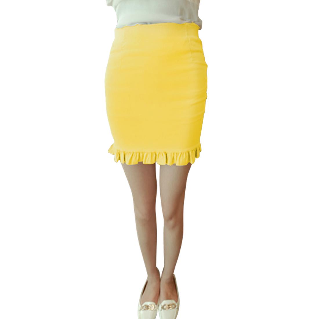 Women High Waist Straight Zippered Mini Chic Skirt Yellow XS