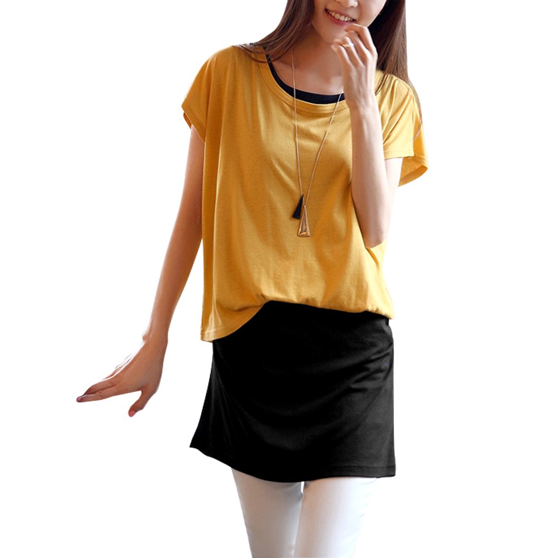 Lady Bat Wing Sleeve Irregular Detail Loose Dress Mustard Yellow Black XS