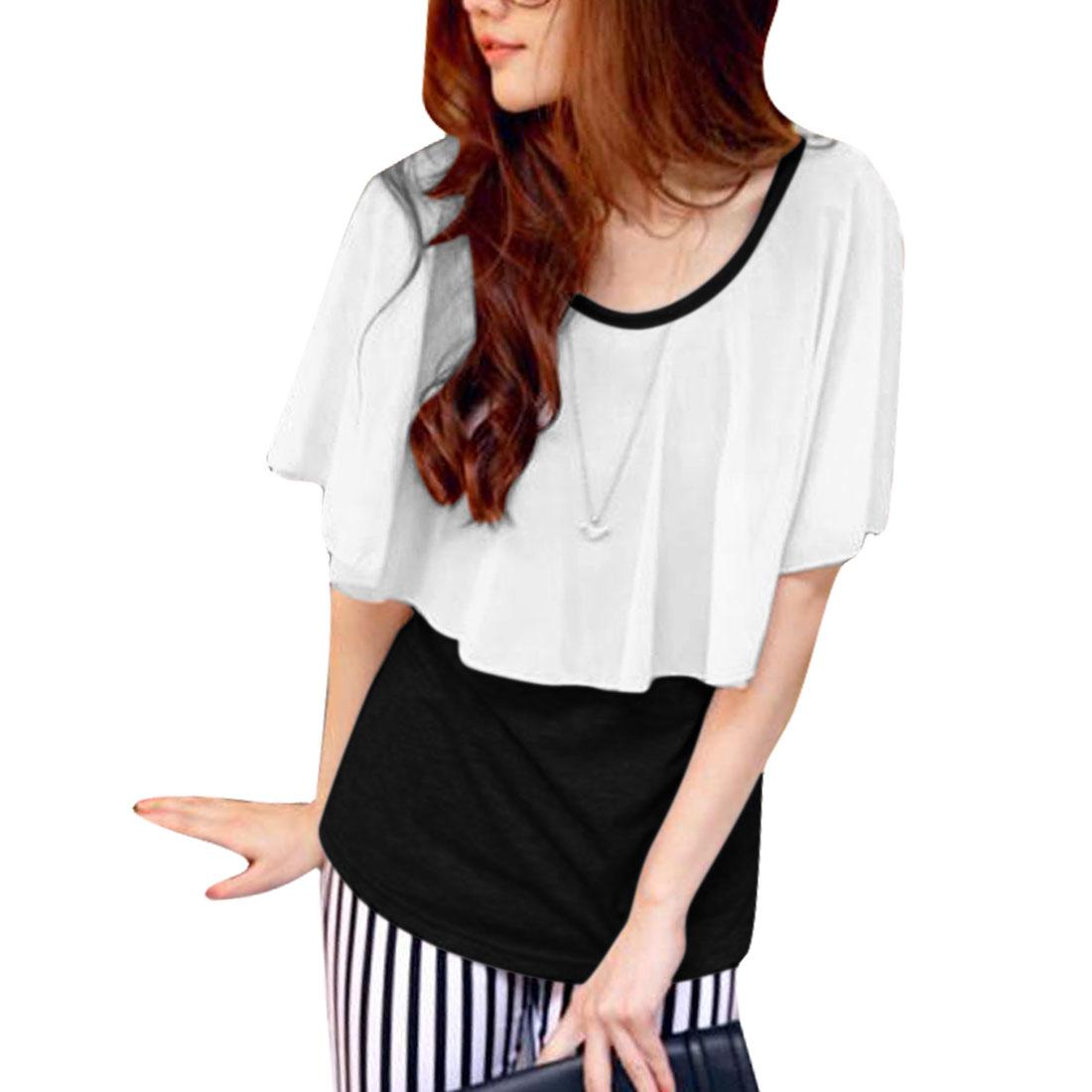 Ladies Round Neck Pullover Cape Design Blouse Black White XS