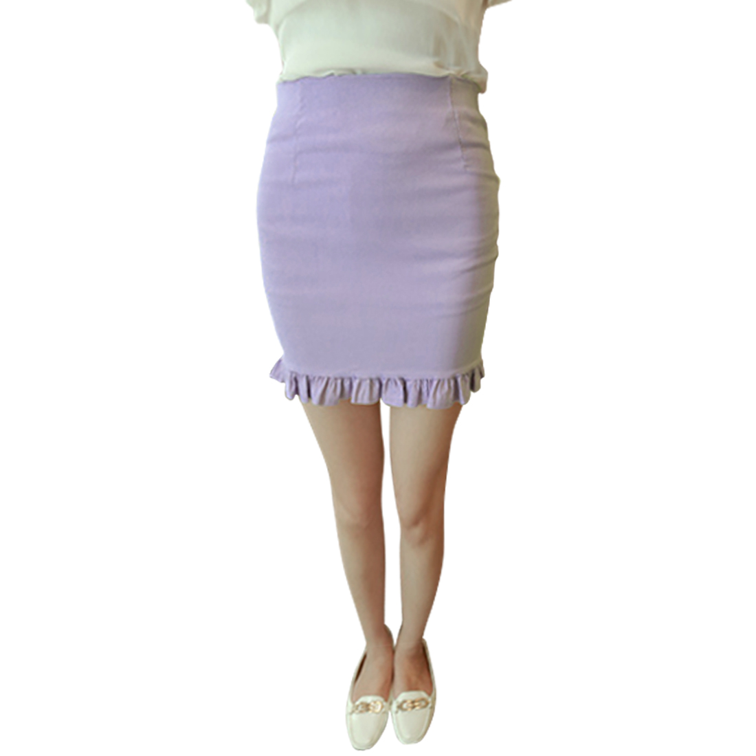 Ladies Solid Color Elastic Waist Hidden Zip Sexy Skirt Lavender XS