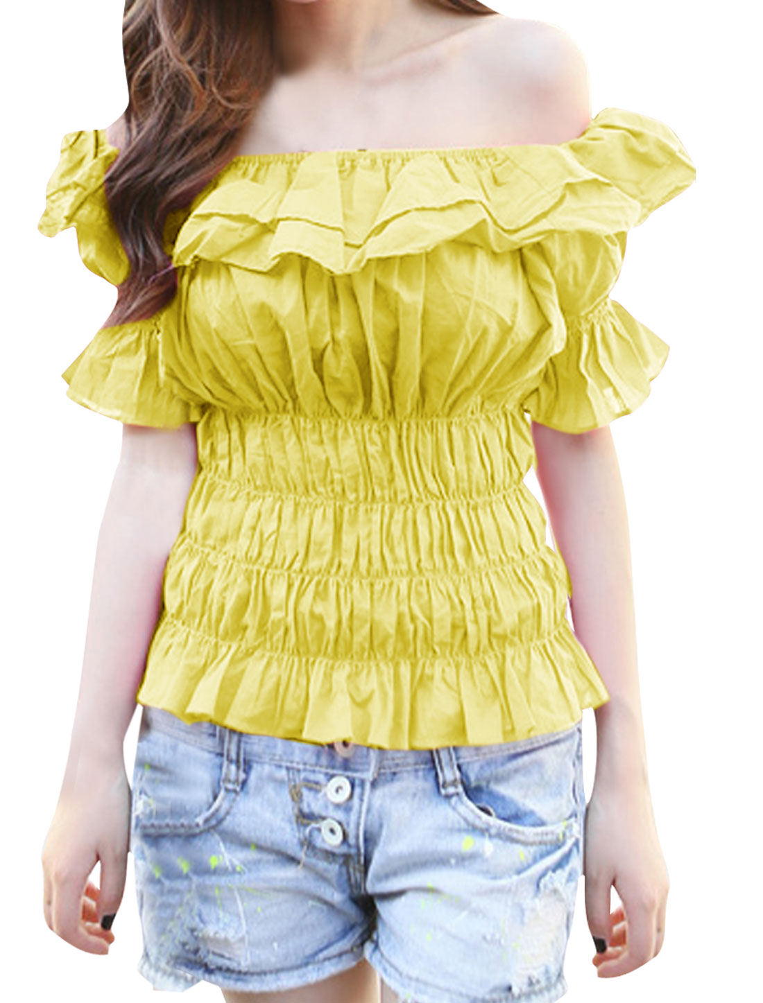 Ladies Off Shoulder Flouncing Short Sleeve Blouse Yellow S