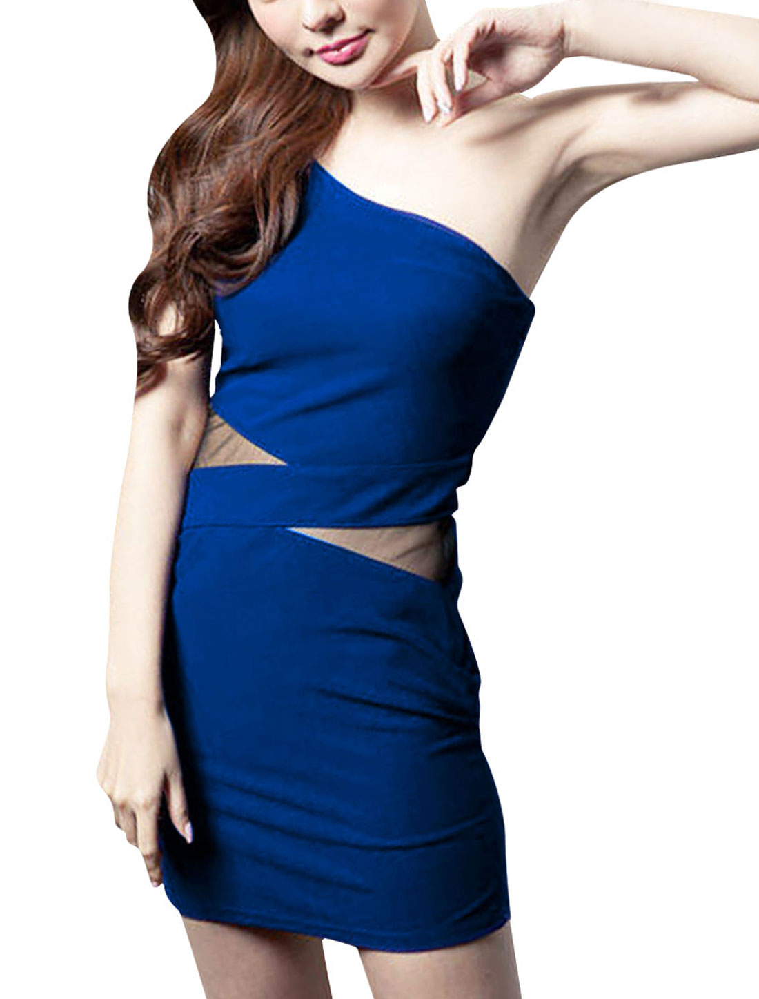 Woman New Style One Shoulder Design Mesh Royalblue Skinny Mini Dress XS