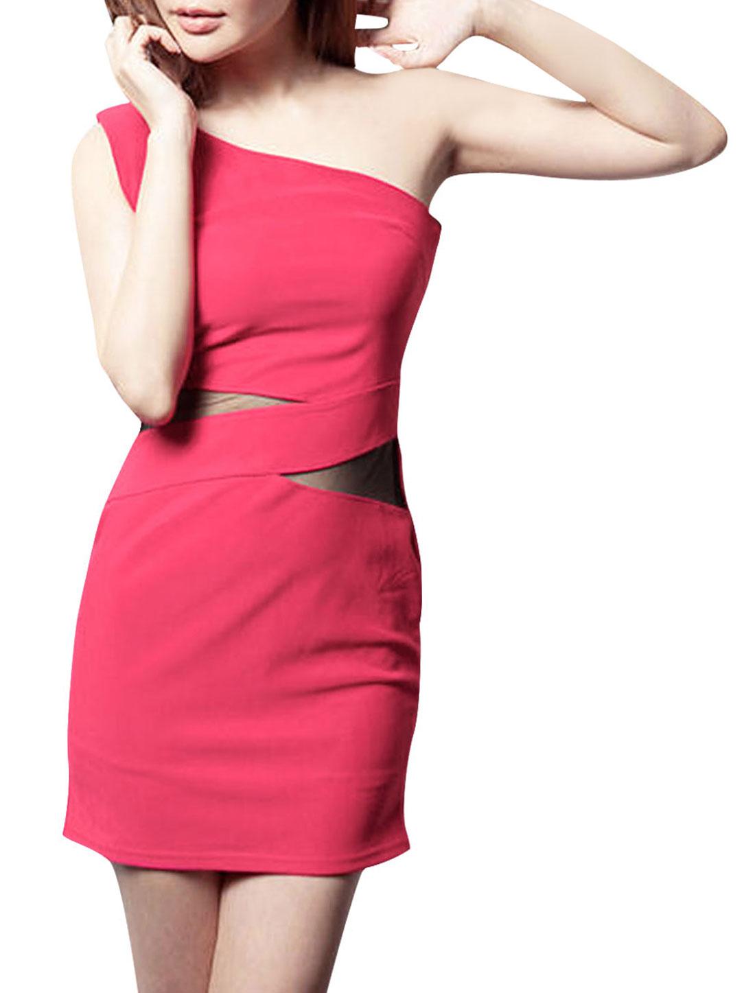 Women Fashional Fuchsia Color Semi-Sheer Mesh Panel Design Mini Dress XS