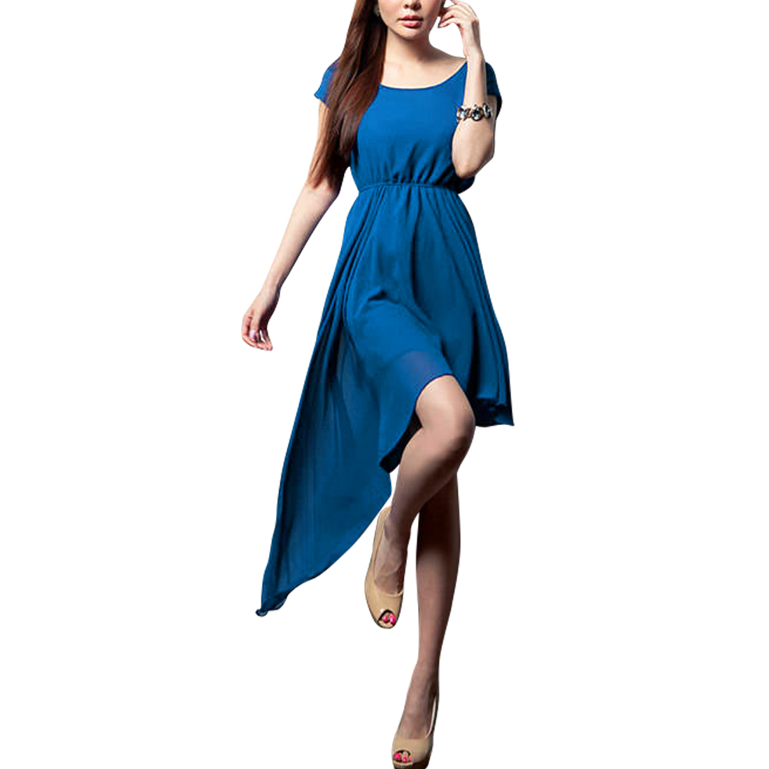 Lady Boat Neck Semi-sheer Stretchy Waist Blue Pleated Dress XS
