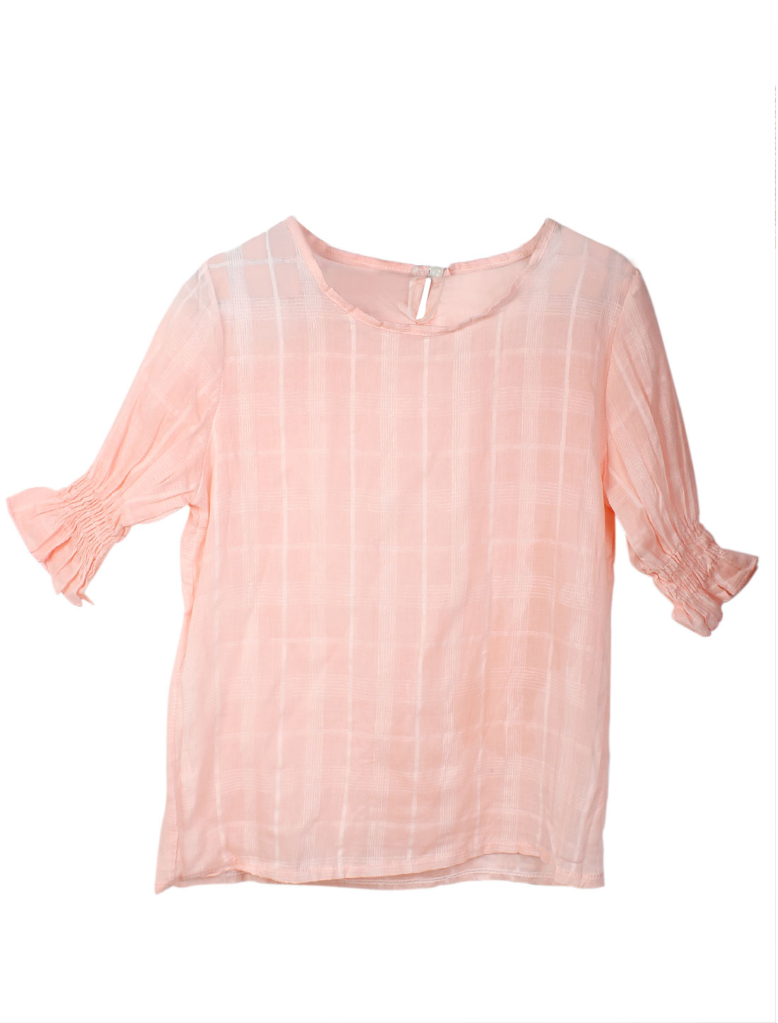 Ladies Round Neck Short Sleeve Buttoned Elegant Shirts Pink S