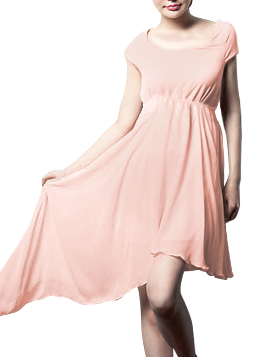 Lady Stretchy Waist Semi-sheer Irregular Hem Light Salmon Pink Dress XS