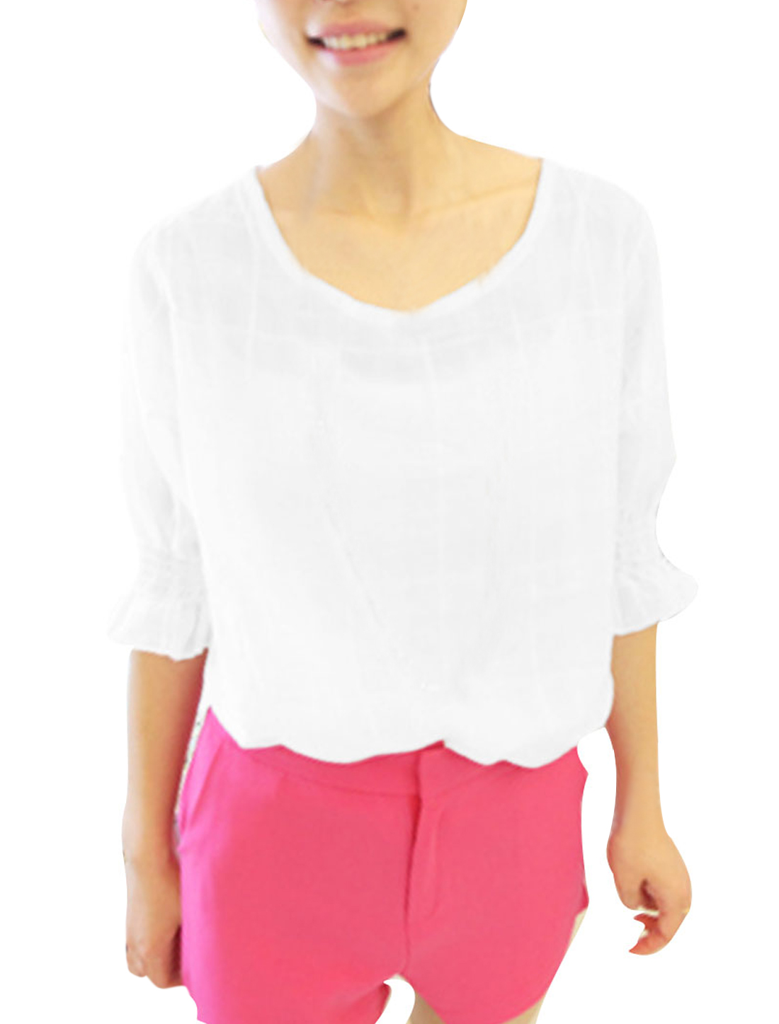 Lady Stretchy Cuff Short-sleeved Fashion Tops Blouses White S