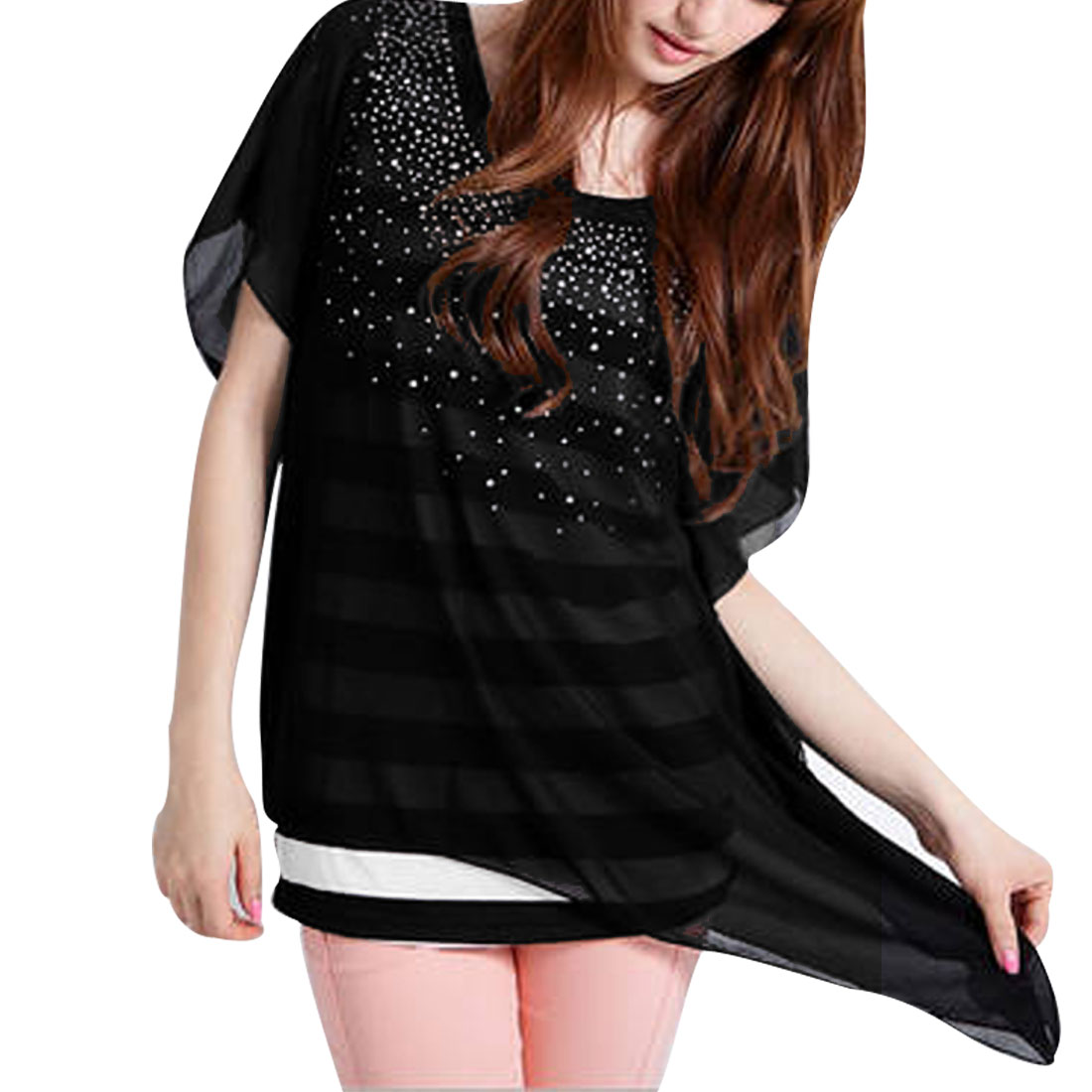 Lady Black Rhinestone Decor Round Neck Layered Shirts Shirt Top XS
