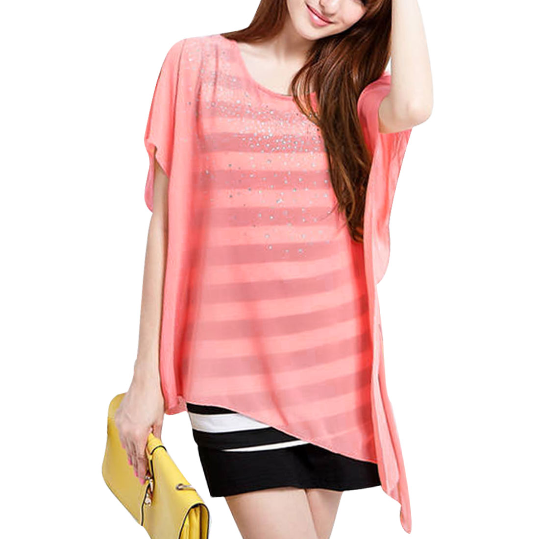 Lady Pink Asymmetrial Sleeve Layered Shirts Shirt Top XS
