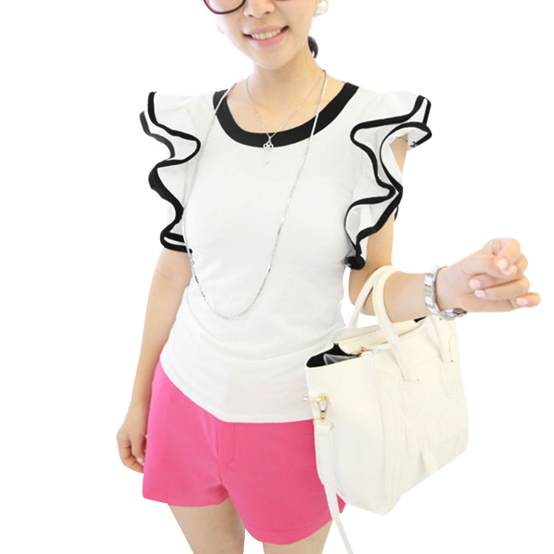 Women Color Contrast Agaric-shaped Short Sleeve Shirt White XS
