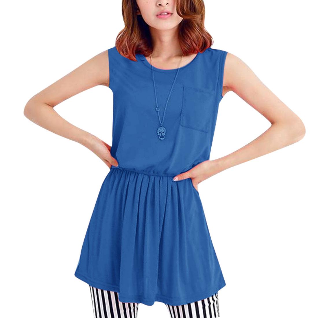 Ladies Round Neck Sleeveless Crochet Tank Dress Royal Blue XS