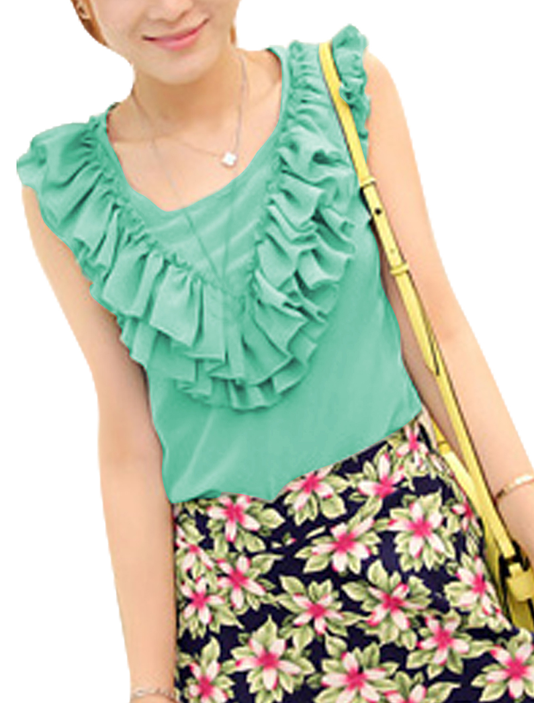 Ladies Chiffon Sleeveless Round Neck Sexy Shirts Light Green S