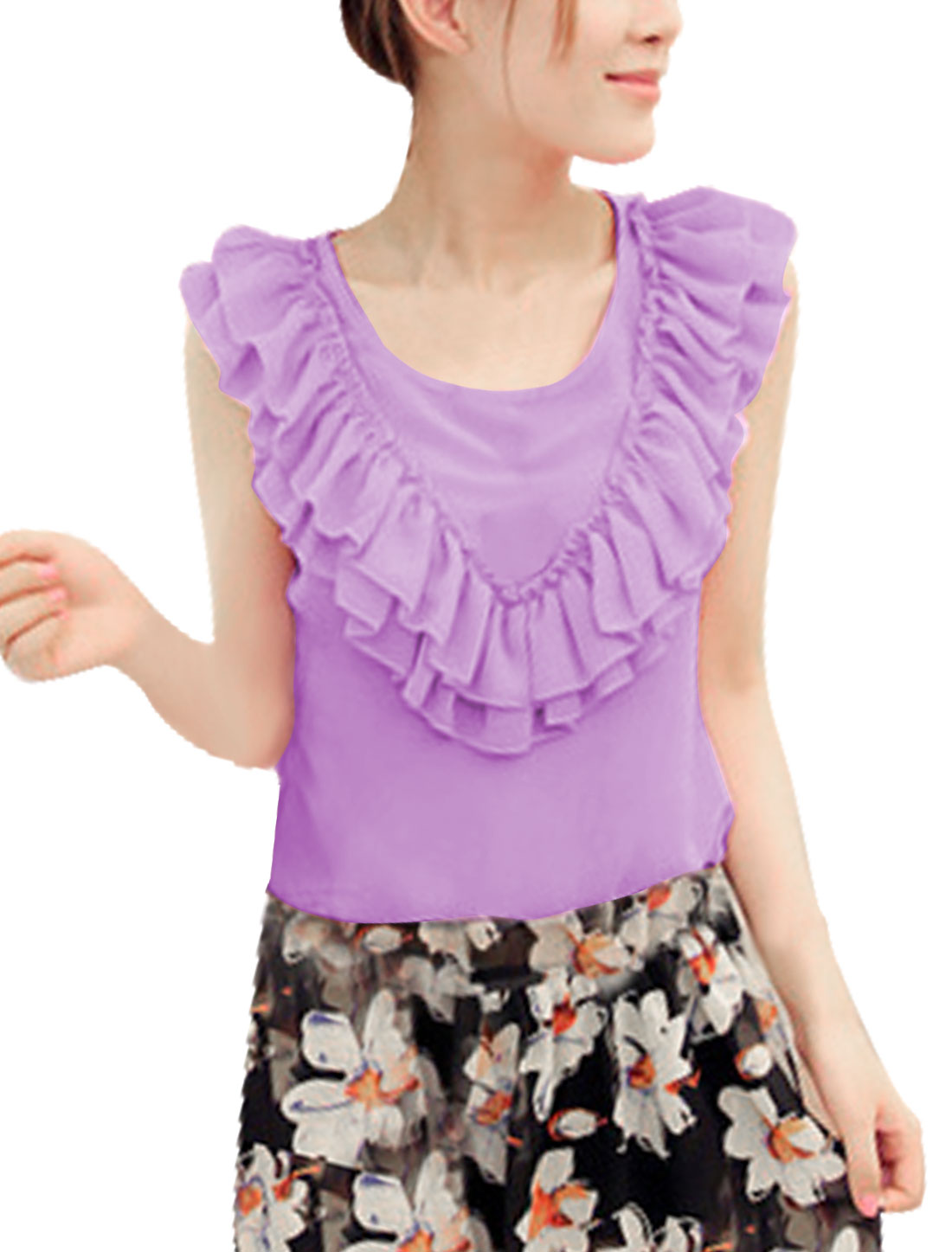 Women Chiffon Sleeveless Solid Color Fashion Hot Shirt Lavender S