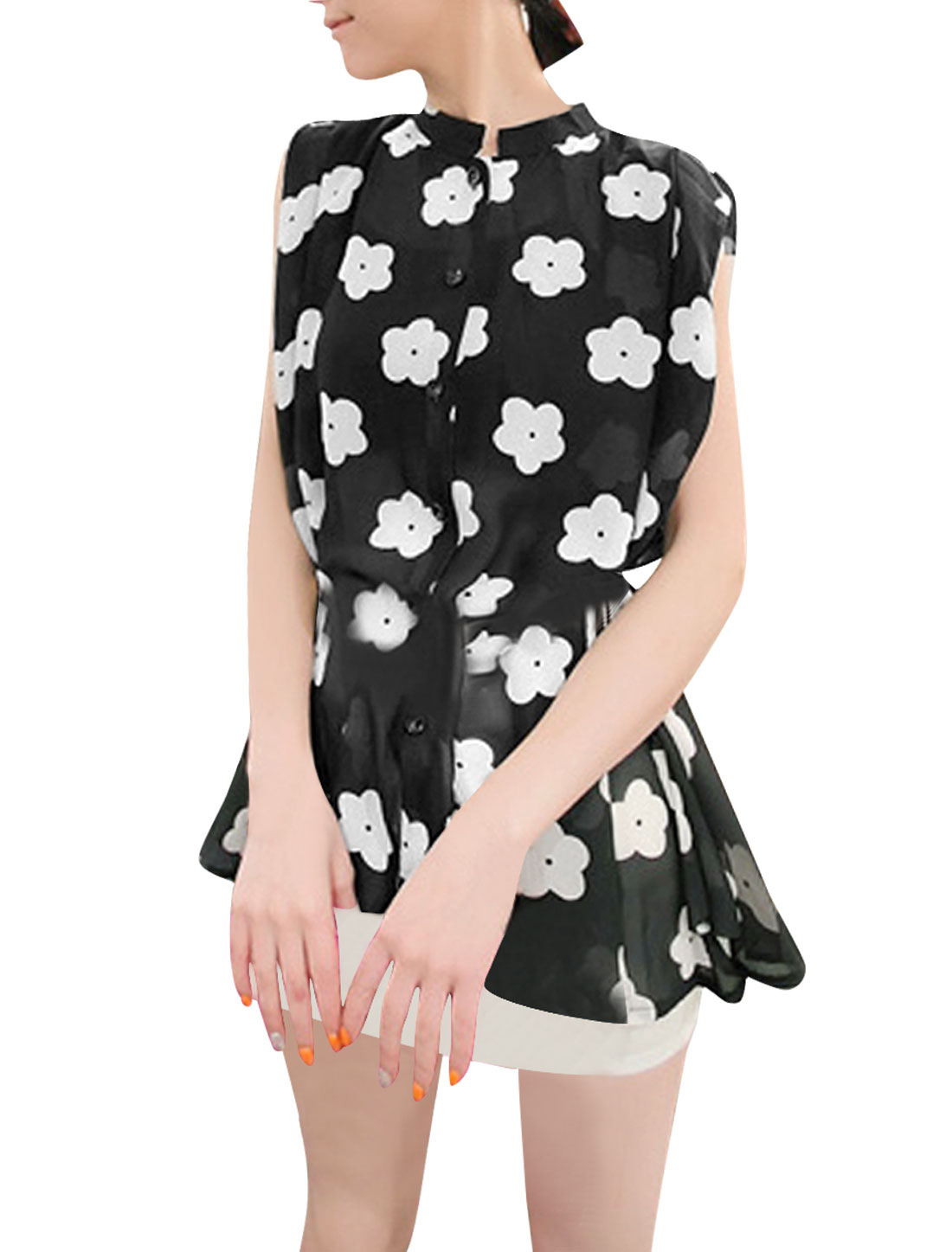 Lady Stylish Sleeveless Flowers Pattern Black White Tunic Blouse S