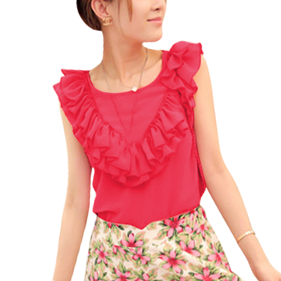 Lady Round Neck Sleeveless Hot Fashion Tops Blouses Watermelon Red S