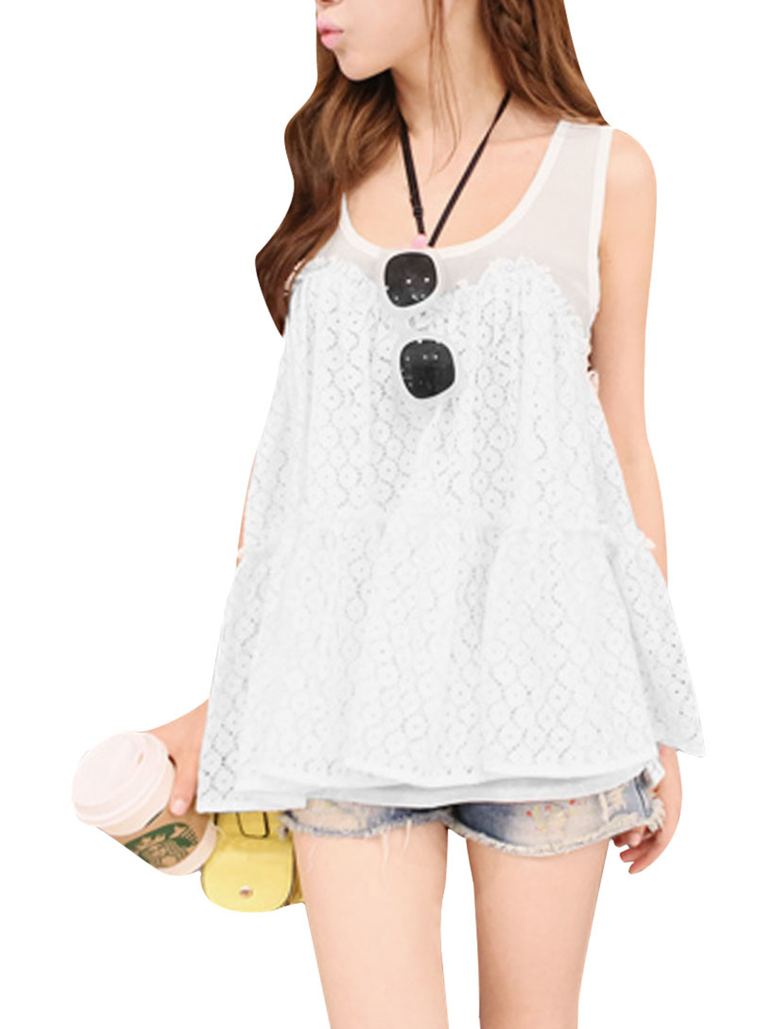 Lady White Sleeveless Flower Design Pullover Lace Tank Top S