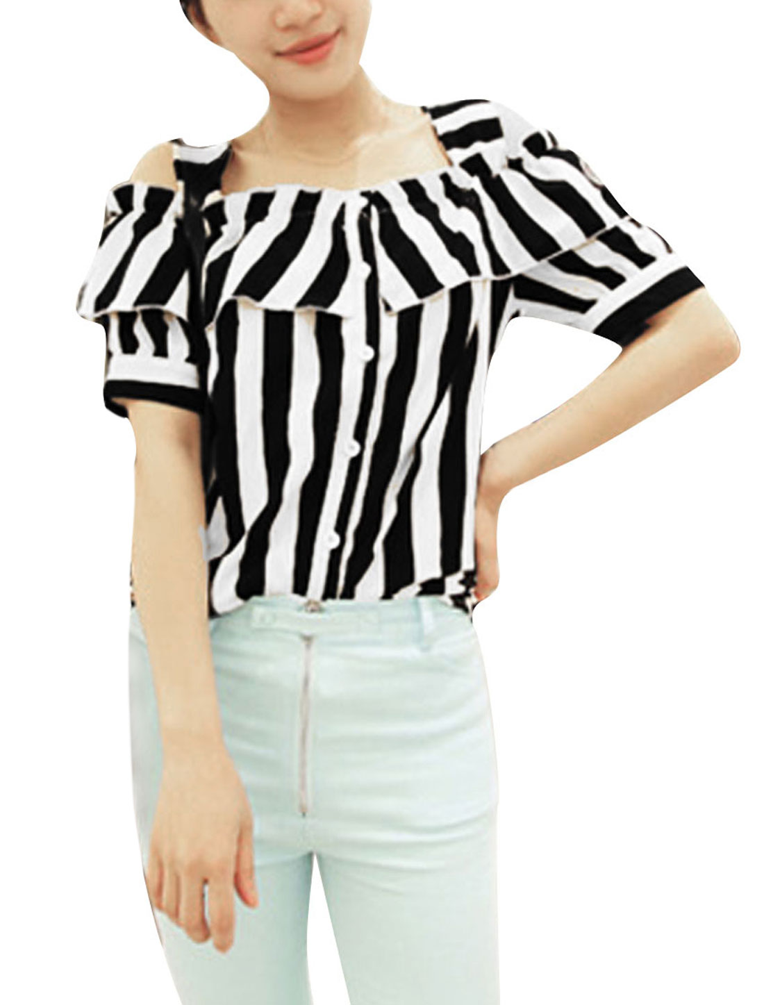 Women Striped Single Breasted Chiffon Tops Blouses Black XS