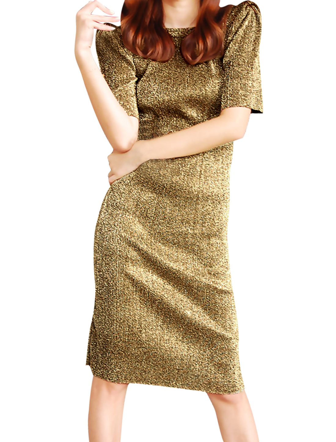 Ladies Round Neck Elbow Sleeve Padded Shoulder Gold Tone Knee-Length Dress XS