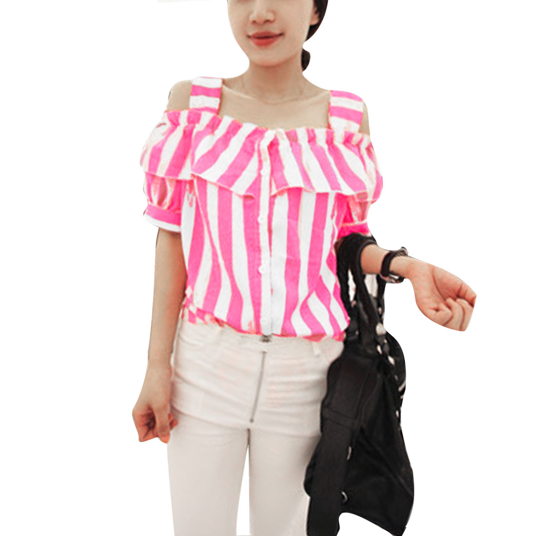 Lady Buttons Front Stripes Short Sleeve Modern Shirt Pink XS