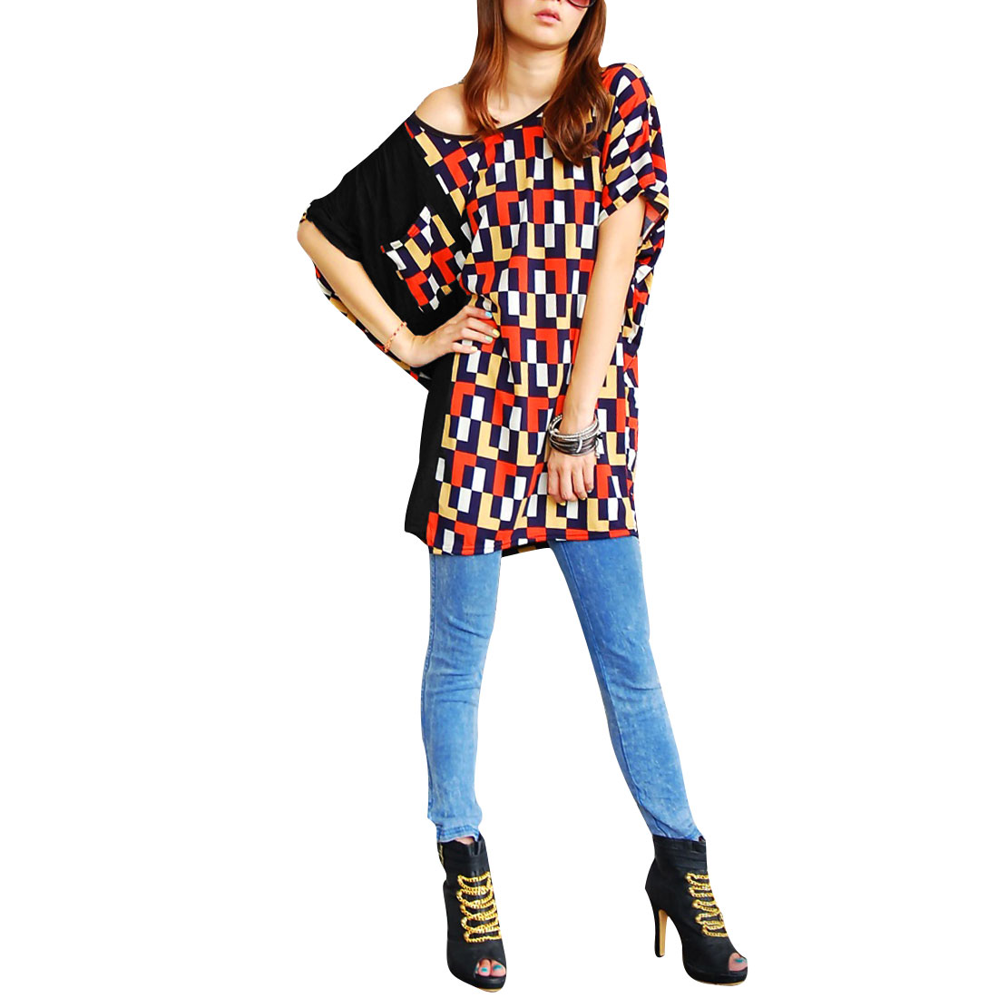 Lady Batwing Sleeve Pullover Plaids Prints Multicolor Long Blouse M