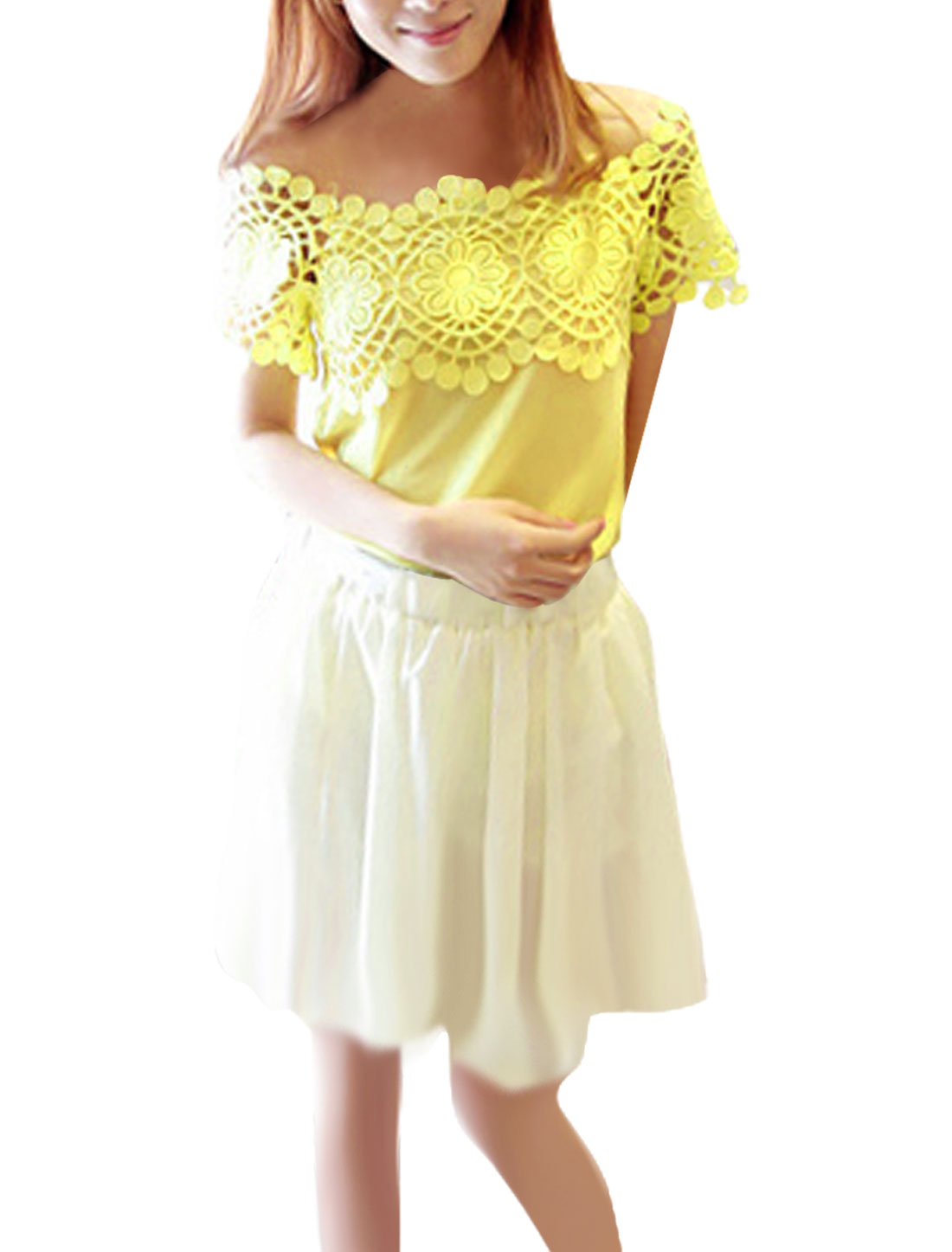 Women Chiffon Short Sleeve Crochet Spliced Shirt Fluorescent Yellow S