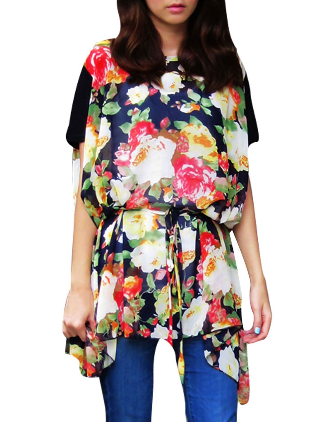 Lady Pullover Floral Prints Semi-sheer Tunic Loose Blouse Multicolor M