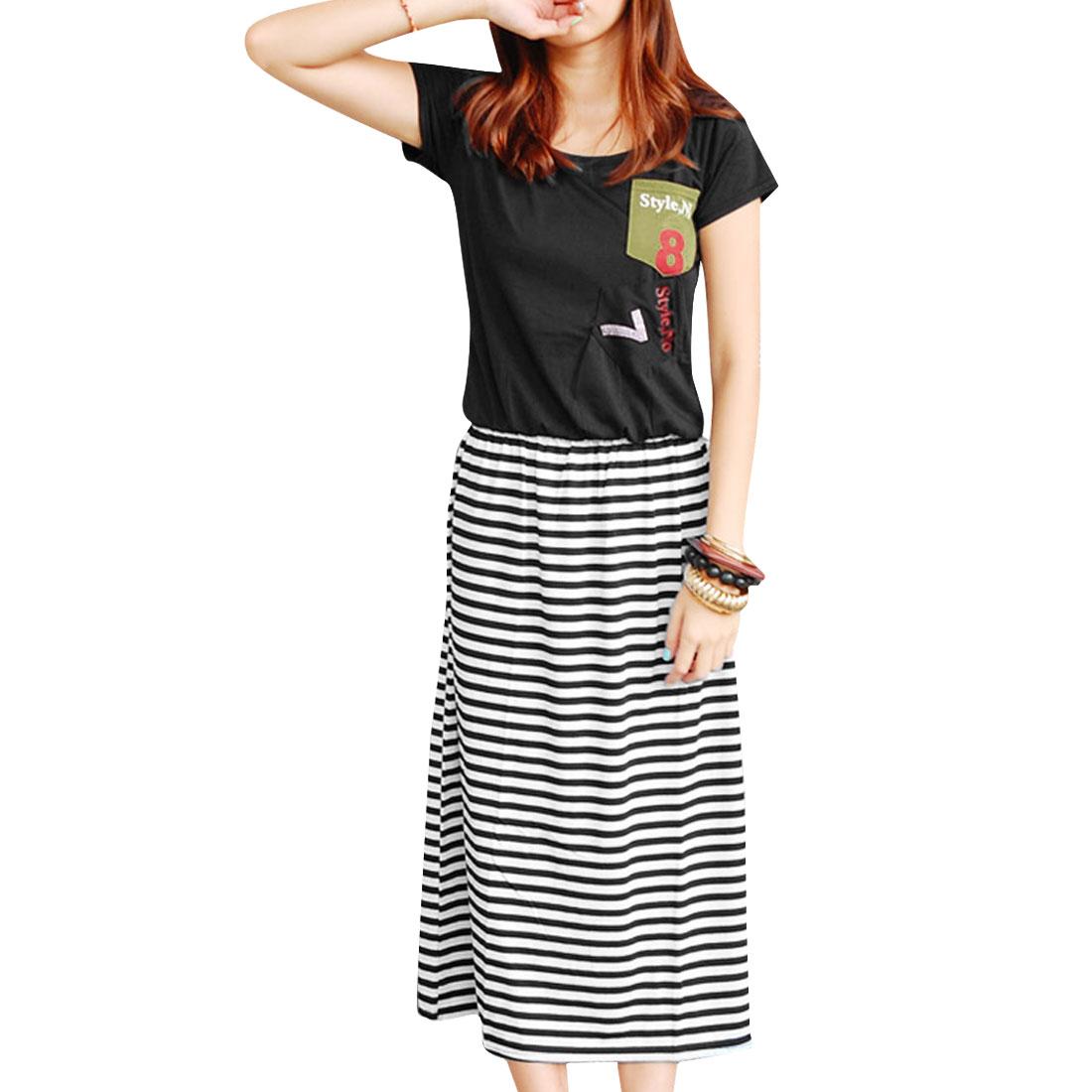 Lady New Fashion Scoop Neck Chest Pockets Stripes Pattern Dress Black XS