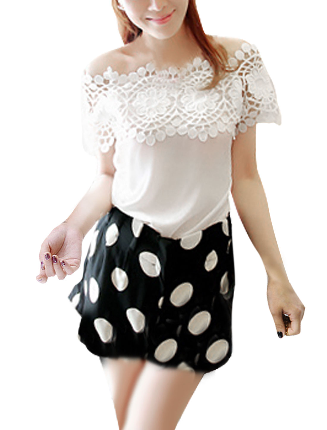 Lady Solid Color Crochet Short-sleeved Loose Tops Blouses White S