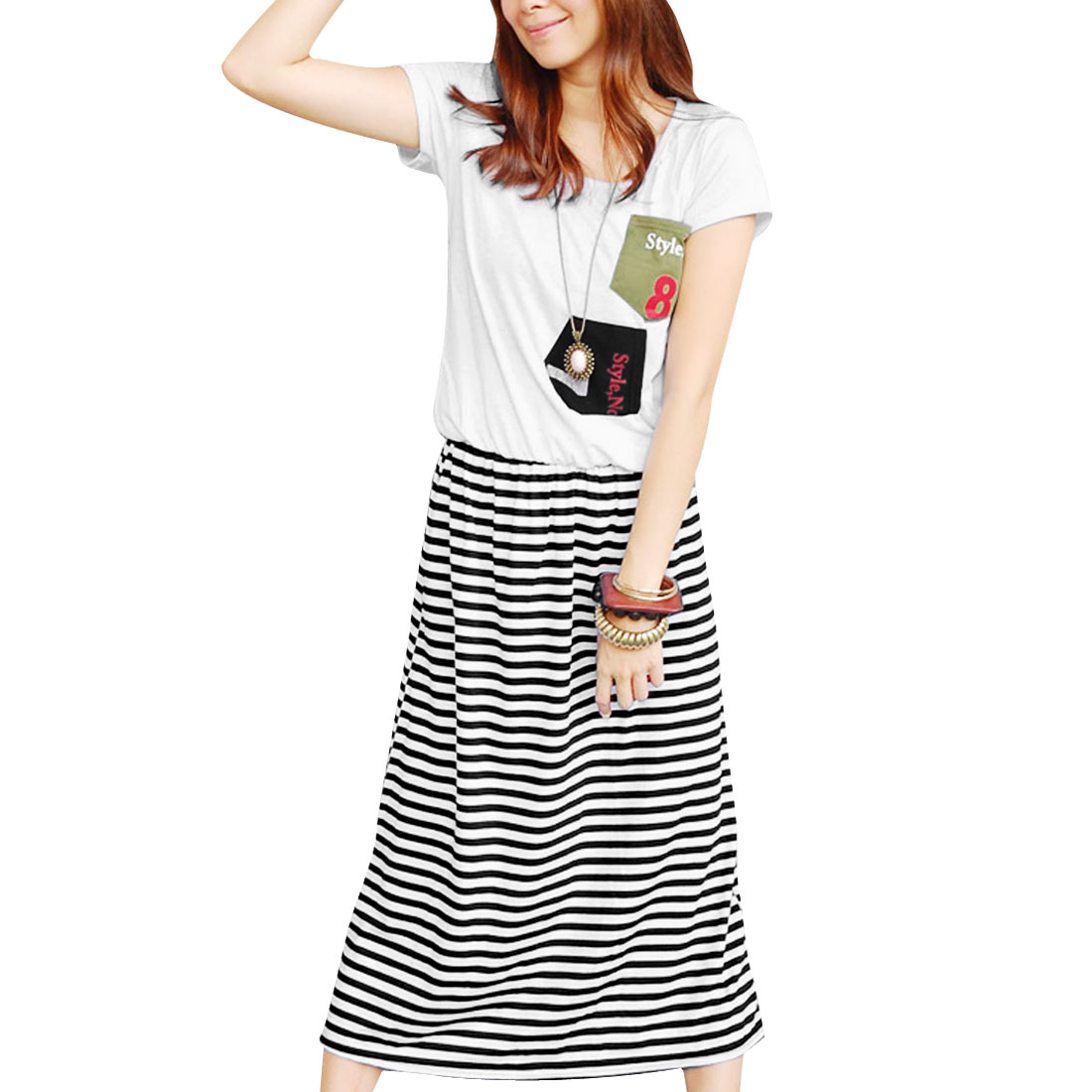 Lady Short Sleeve Pullover Chest Pockets Stripes Pattern White Dress XS